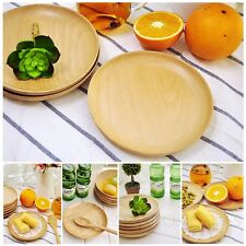 Cooking Designer Wooden Plates cutlery Vintage Round Wood Plate Bamboo Bowl