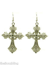 """Industrial Gothic Urban Silver Cross Earrings with Crystal Bling - 2 1/2"""""""