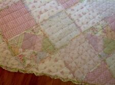"""BEAUTIFUL MULTI-COLOR PASTEL FLORAL PATTERN PATCH QUILTED THROW~58 x 46""""~NICE!"""