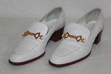 Bruno Magli Womens Size 7.5 White Ostrich Leather Casual Slip On Loafers Shoes