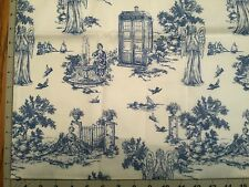 DOCTOR WHO FABRIC TARDIS & Angels Elegant Toile VERY Hard to FIND!
