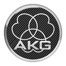 AKG Black Round 1.5 Chrome Domed Case Badge / Sticker Logo