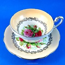 Stunning Rose Center Bouquet with Peach Border Foley Tea Cup and Saucer Set