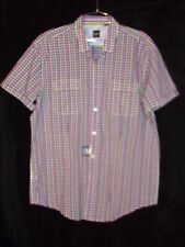 NWT Mens Hugo Boss Slim Fit Button Up Down Shirt Purple Yellow Pink White XL