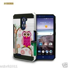 DAISY OWL BRUSHED CASE W/ID SLOT COVER FOR ZTE GRAND X MAX 2 Z962G Z963VL