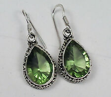BEAUTIFUL BRILLIANT CONCAVE CUT GREEN AMETHYST EARRINGS STERLING SILVER