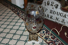 Vintage Glass Vase Table Lamp W/Italian Marble Base-Circular Color Glass Pattern