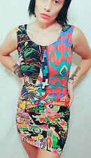 Vtg 90s 80s crazy bright jams aztec zebra rose body con mini hip hop dress s