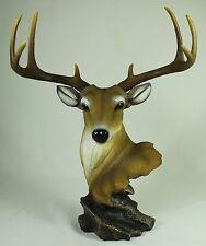 WHITE TAIL DEER HEAD STATUE Buck Antlers Desktop Figurine NEW Wildlife Elk Doe