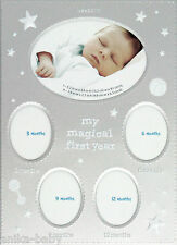 My First Year Photo Frame Gift Baby Boy Girl Gift 5 Month Stages Silver White