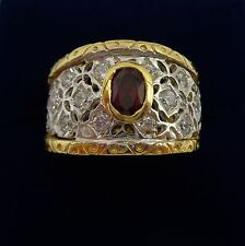 Unusual Red & White Stone Dress Ring In 18ct Yellow Gold - Size N - 9.3g
