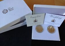 2010-11 2X SILVER PROOF GOLD PLATED £5 COINS BOXS + COA'S WILLIAM & KATE