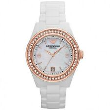 NEW EMPORIO ARMANI WHITE CERAMIC CRYSTAL STAINLESS STEEL LADIES WATCH AR1472