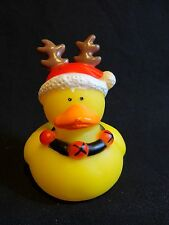 "Reindeer Rubber Ducky 2"" Duckie Red Squeezable Christmas Holiday Toy"