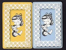 Vintage Swap/Playing Cards - Cute Girl with Kitten Pair (LINEN)