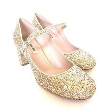 W-1569150 New Miu Miu Gold Glitter Block Heels Strap Marked Size 39 US-9