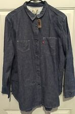 NWT~Levi Womens Boyfriend Chambray Red Tag Shirt Size Large Chest 46""