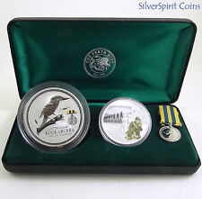 2003 AUSTRALIANS AT KOREAN WAR 2oz Kookaburra Coin & 1oz Medallion Set