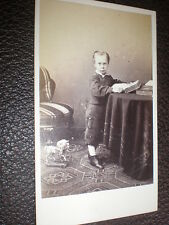 Cdv old photograph boy books toy horse by lavis London c1860s