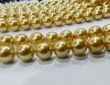 """8mm gold AAA akoya Round Shell Pearls Beads 15"""""""