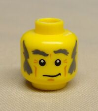 x1 NEW Lego Minifig Head Gray Eyebrows, Bushy Sideburns and Crooked Smile