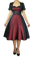 Black Burgundy Swing Dress Rockabilly Retro Anime Size Medium Med 8 10