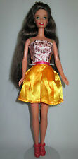 Barbie Doll Brunette Pink Yellow Dress Clothes Shoes Princess Crown FREE S/H!
