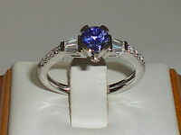 Ladies Sterling 925 Silver Tanzanite Solitare With White Sapphire Accents Ring
