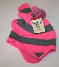 New OshKosh Winter Hat & Gloves Set Size 7-12 Year NWT Pink Stripes Pom Poms