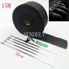 CAR EXHAUST HEADER HEAT WRAP BLACK 15M x 50MM ROLL DUMP PIPE CATBACK MUFFLER