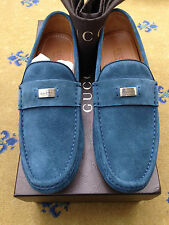 New Gucci Mens Shoes Blue Suede Loafers Drivers UK 9 US 10 EU 43 Made in Italy
