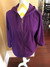 Zenergy By Chico's Size 2 Purple Hooded Full Zip Jacket 3/4 Sleeves EUC