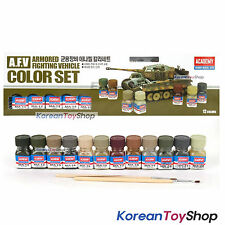 Academy Military Vehicle Enamel 12 Color Paint Set Matt Plastic Model Kit 15906