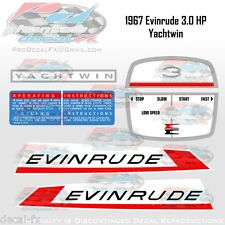 1967 Evinrude 3HP Yachtwin Outboard Reproduction 8 Pc. Vinyl Decals Lightwin