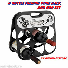 6 Bottle Folding Wine Rack and Bar Set (Great for Parties)