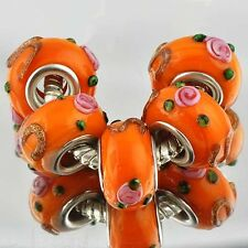 European Charms lot murano glass beads orange lampwork beads fit  Bracelet
