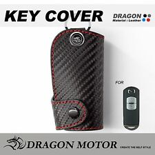 Leather Key fob Holder Case Chain Cover FIT For 2016 Mazda 2 Mazda 3 CX-5 CX-7