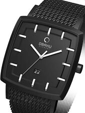 Obaku  Exquisite Men's Dress Watch New with Tags Black Ion-plated SS V134GBBMB