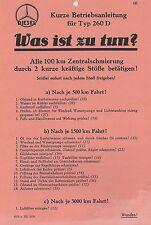 ✇ Original - Kurze Betriebsanleitung Manual für MERCEDES Typ 260D von 1942