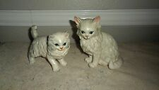 2 VINTAGE LEFTON WHITE SITTING AND STANDING PERSIAN CAT FIGURINES H6364 H1514