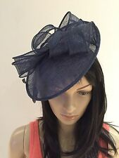 NAVY BLUE WEDDING ASCOT OCCASION FASCINATOR DISC HAT  MOTHER OF THE BRIDE
