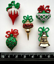 CHRISTMAS ORNAMENTS Craft Buttons Novelty Tree Presents Charms Baubles Festive