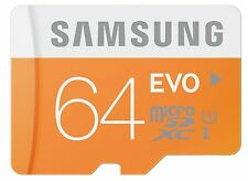 Samsung Evo 64GB micro SD SDXC Class 10 memory card 48MB/S with Free Adapter