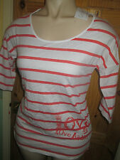 COLLINE LONG ORANGE/WHITE STRIPE TOP+LOVE LOGO SIZE 18/20 BNWT
