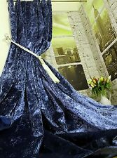 """NEW! Huge Heavy Weight Royal Blue Crushed Velvet 113""""D 54""""W Lined Bay Curtains"""
