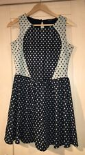 Navy And Cream Polka Dot River Island Skater Dress Size 12