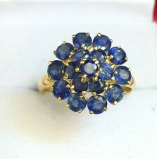 14k Solid Yellow Gold Cluster Round Flower Ring Natural Sapphire 2.5TCW, Sz 8.25