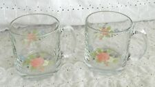 2 Pfaltzgraff Libbey Tea Rose Glass Coffee Tea Mugs Cups Glassware 12 Ounce