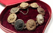 Antique Victorian Lava Cameo Portrait Panel Bracelet c1870
