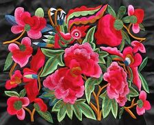 Colorful Chinese tribal miao hmong machinemade embroidery Bird with Flowers